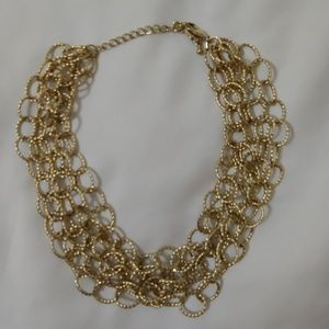 NEW 5 strands of goldtone circles necklace
